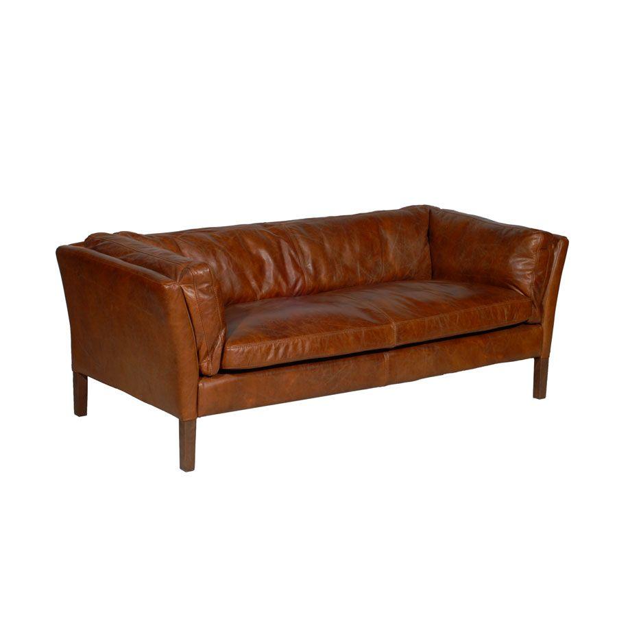 Canapé en cuir marron antic whisky 3 places - Seattle