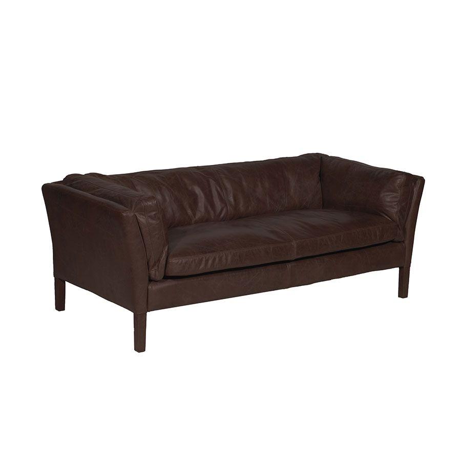 Canapé en cuir marron 3 places - Seattle