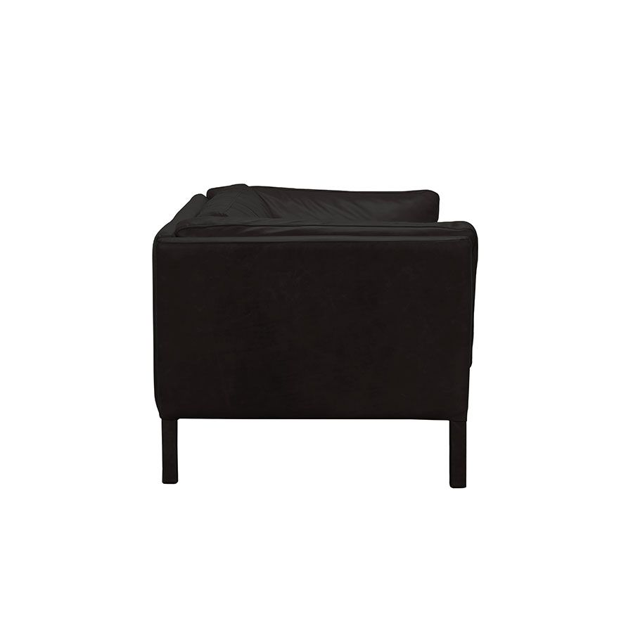 Canapé en cuir noir 3 places - Seattle