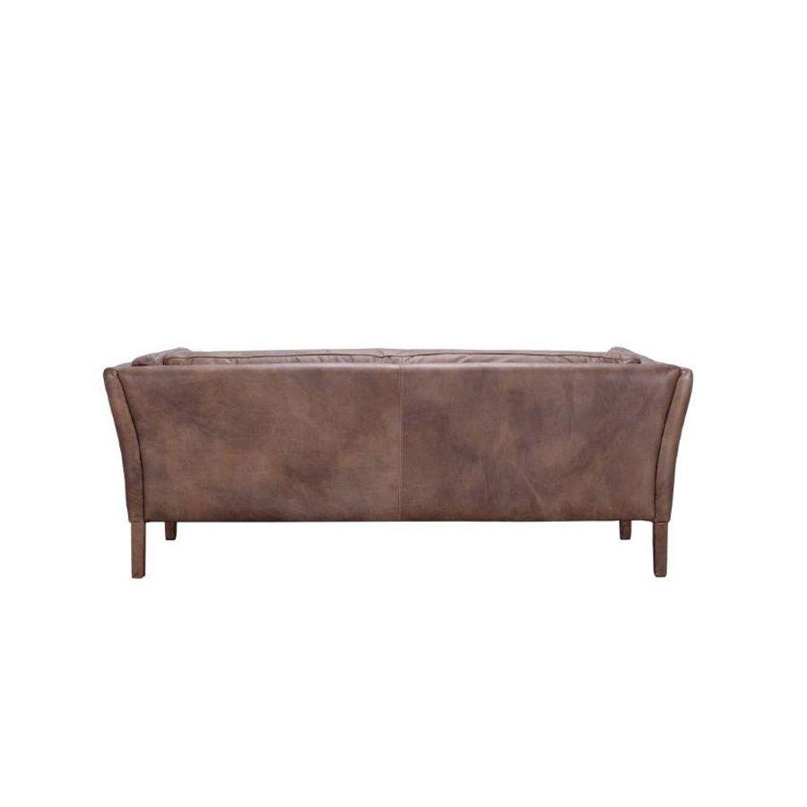 Canapé en cuir marron vieilli 3 places - Seattle