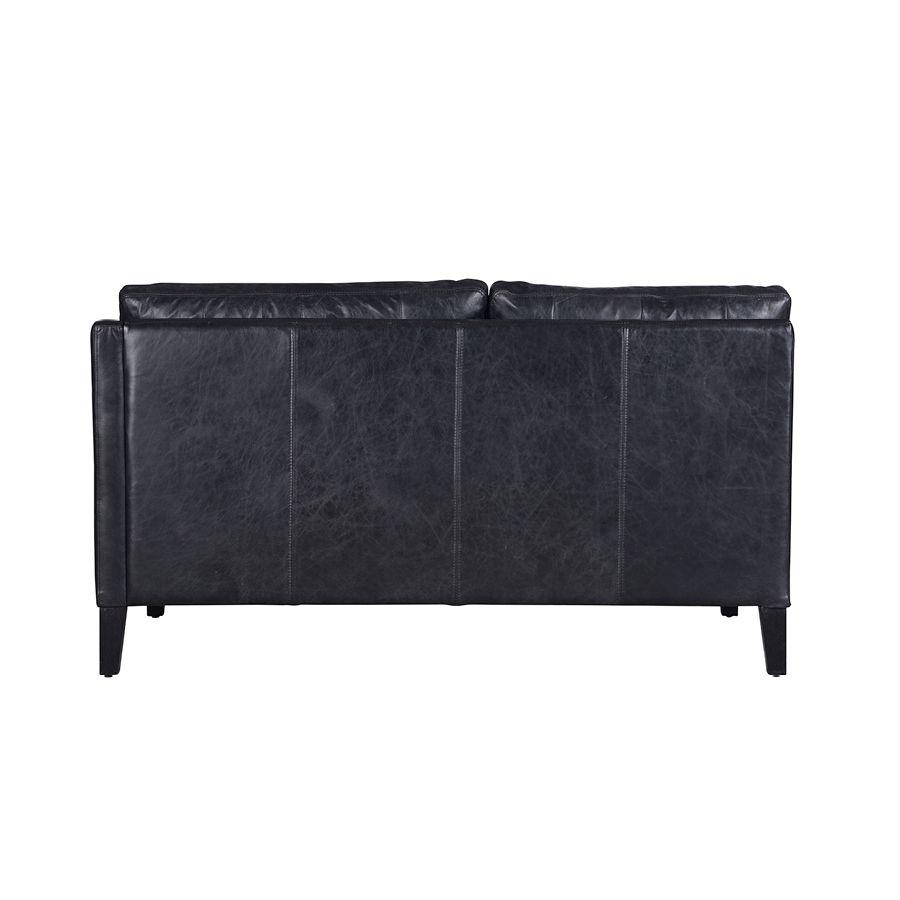 Canapé en cuir noir 2 places - Stanford