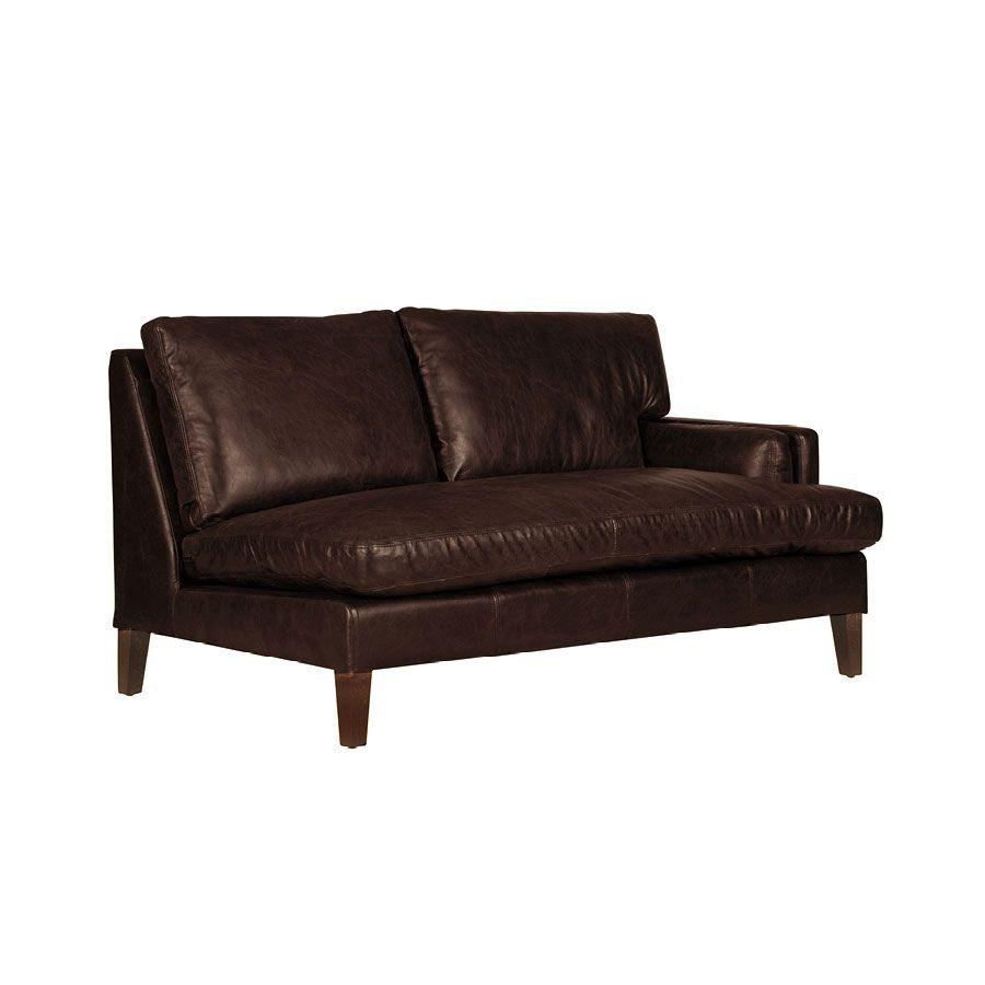 Canapé en cuir 2 places accoudoir droit marron Antic Tobacco - Stanford