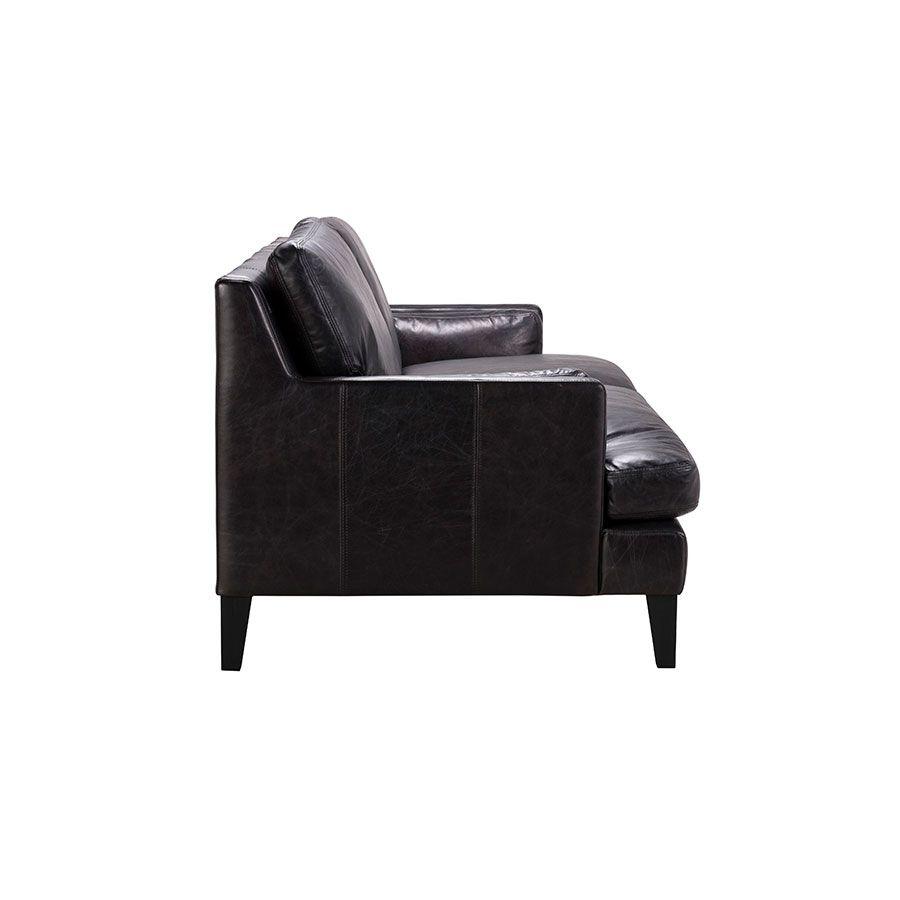 Canapé noir en cuir 3 places - Stanford