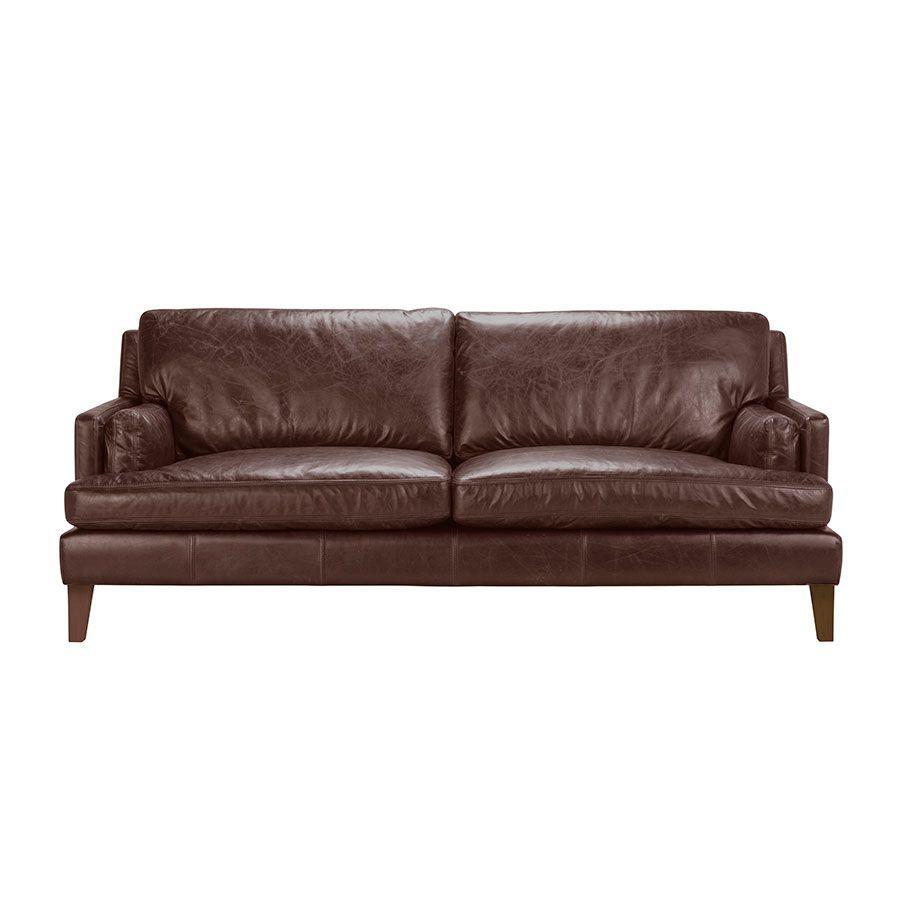 Canapé en cuir 3 places marron Antic Whisky - Stanford