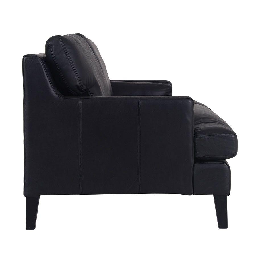 Canapé en cuir 3 places noir Napinha Ebony - Stanford