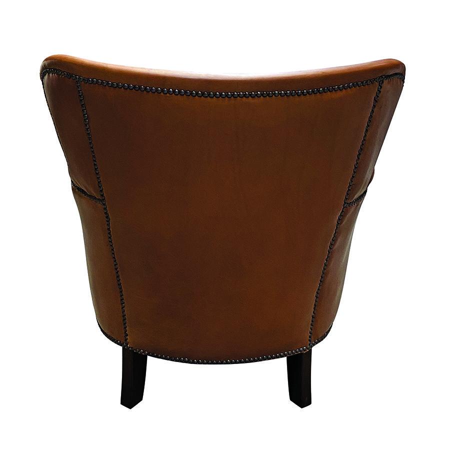 Fauteuil club en cuir marron clair - Yale