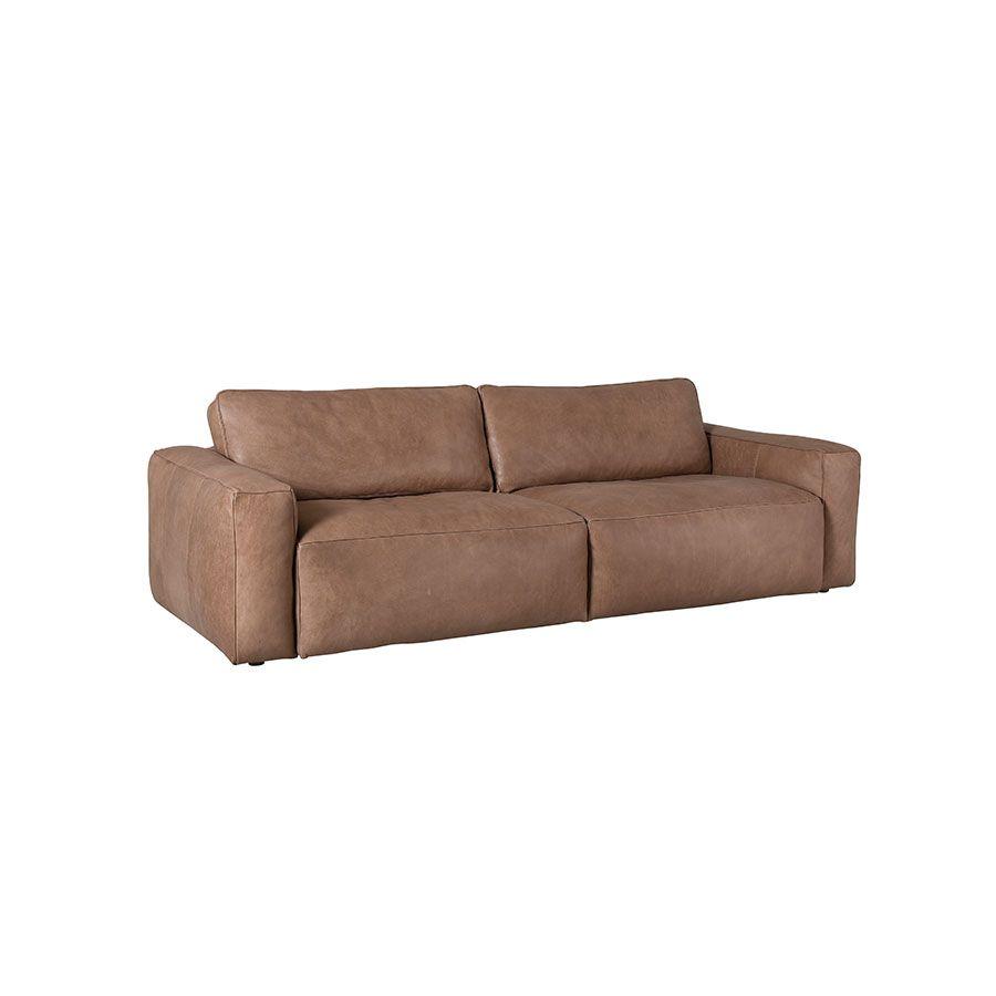 Canapé 3 places en cuir taupe - Kingston
