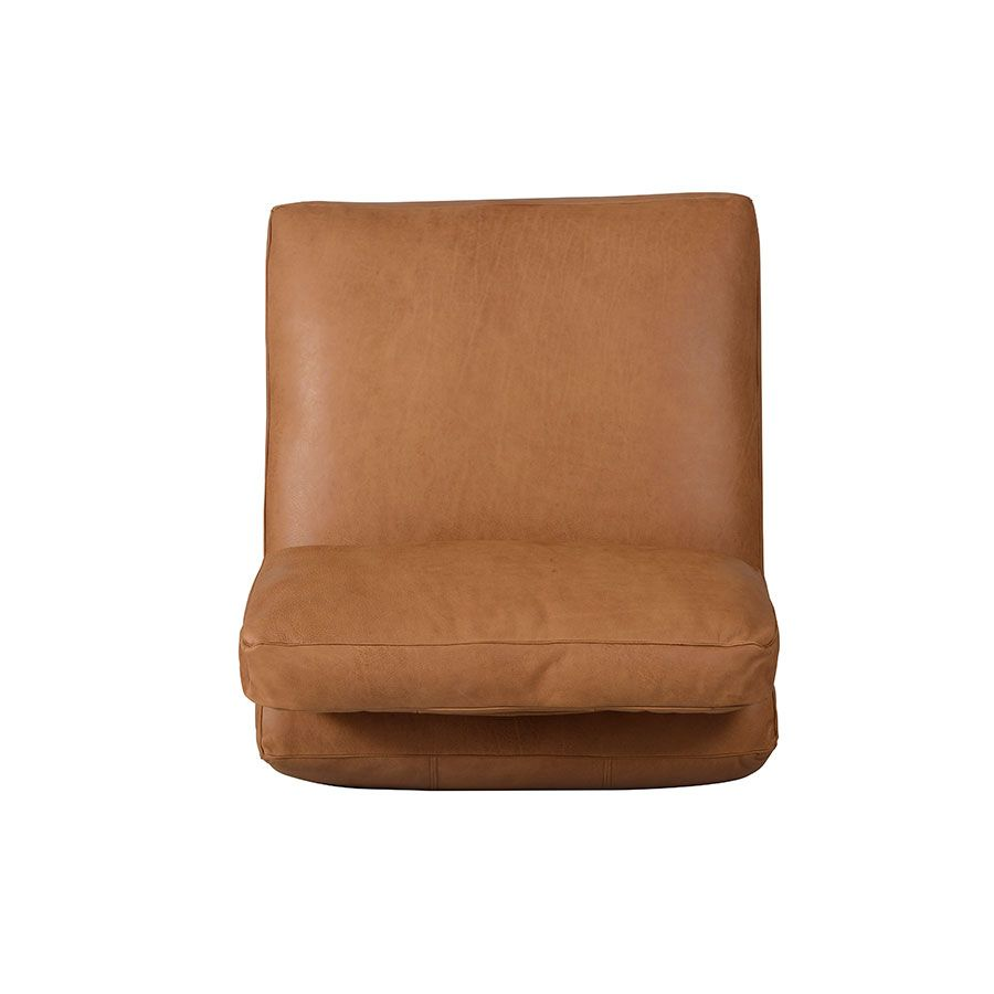 Canapé 1 place sans accoudoir en cuir camel - Kingston