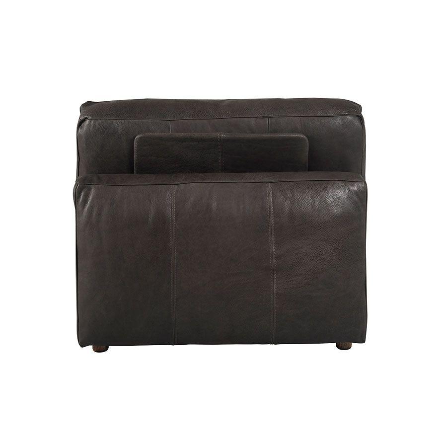 Canapé 1 place sans accoudoir en cuir graphite - Kingston