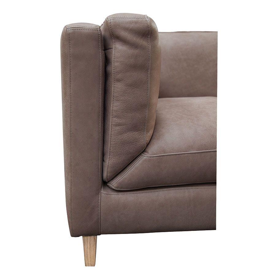 Canapé 3 places en cuir taupe - Détroit