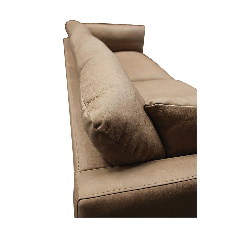 Canapé 3 places en cuir taupe - Dublin