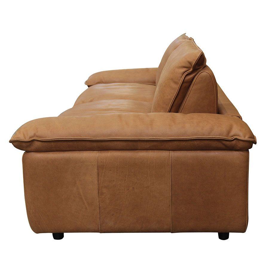 Canapé 3 places en cuir camel - Edimbourg
