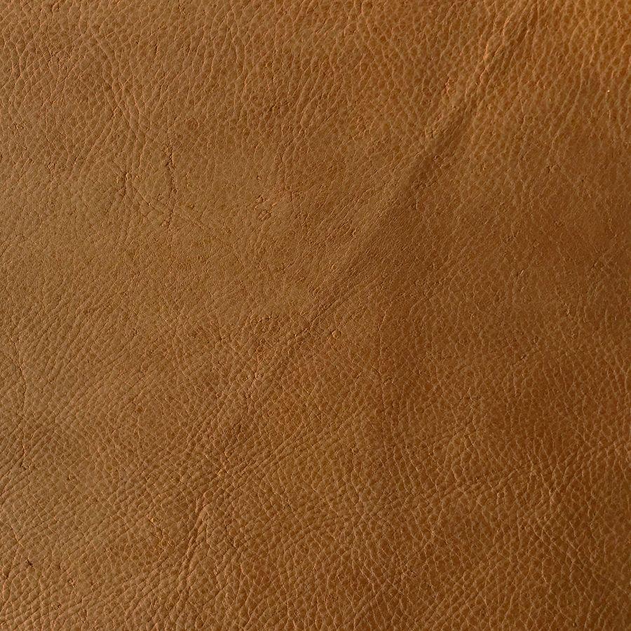 Pouf fixe en cuir camel - Edimbourg