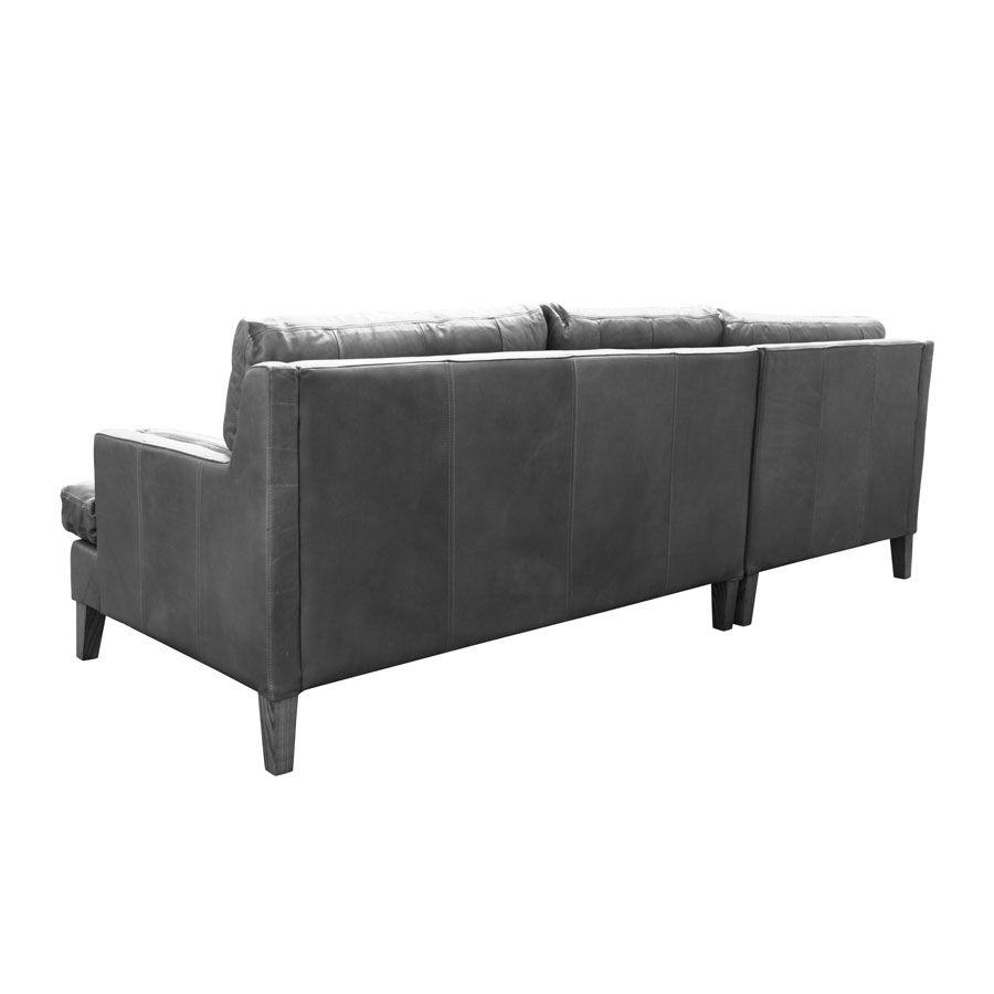 Canapé en cuir gris 5 places - Stanford