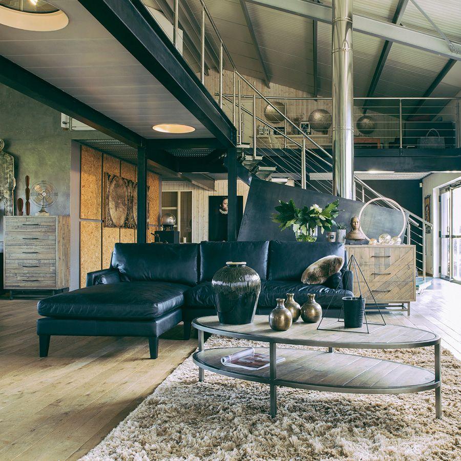 Canapé en cuir noir 5 places - Stanford