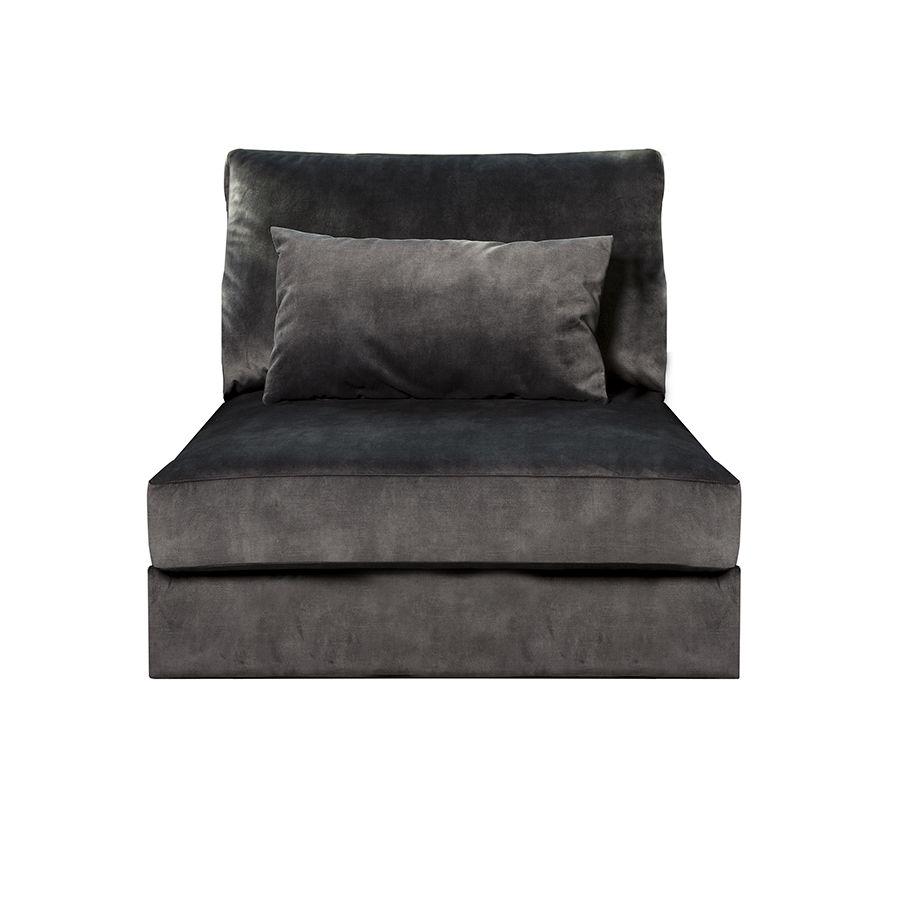 Canapé 1.5 places en tissu velours noir sans accoudoir - Baltimore