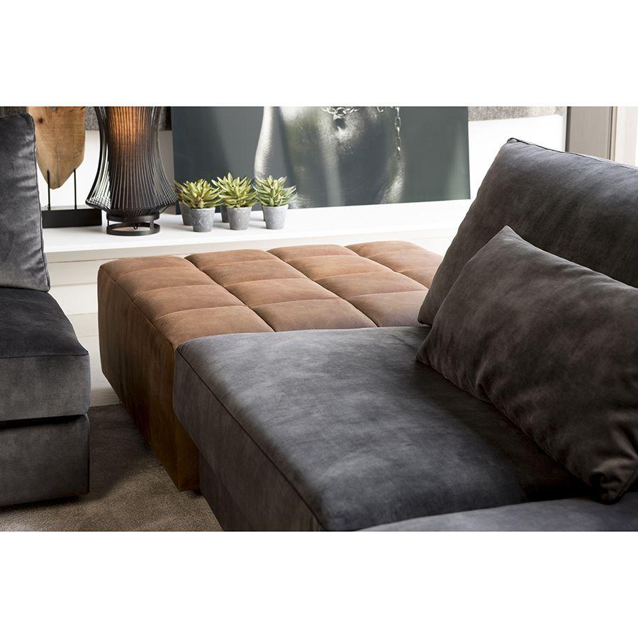 Canapé 2 places en tissu velours noir accoudoir droit - Baltimore