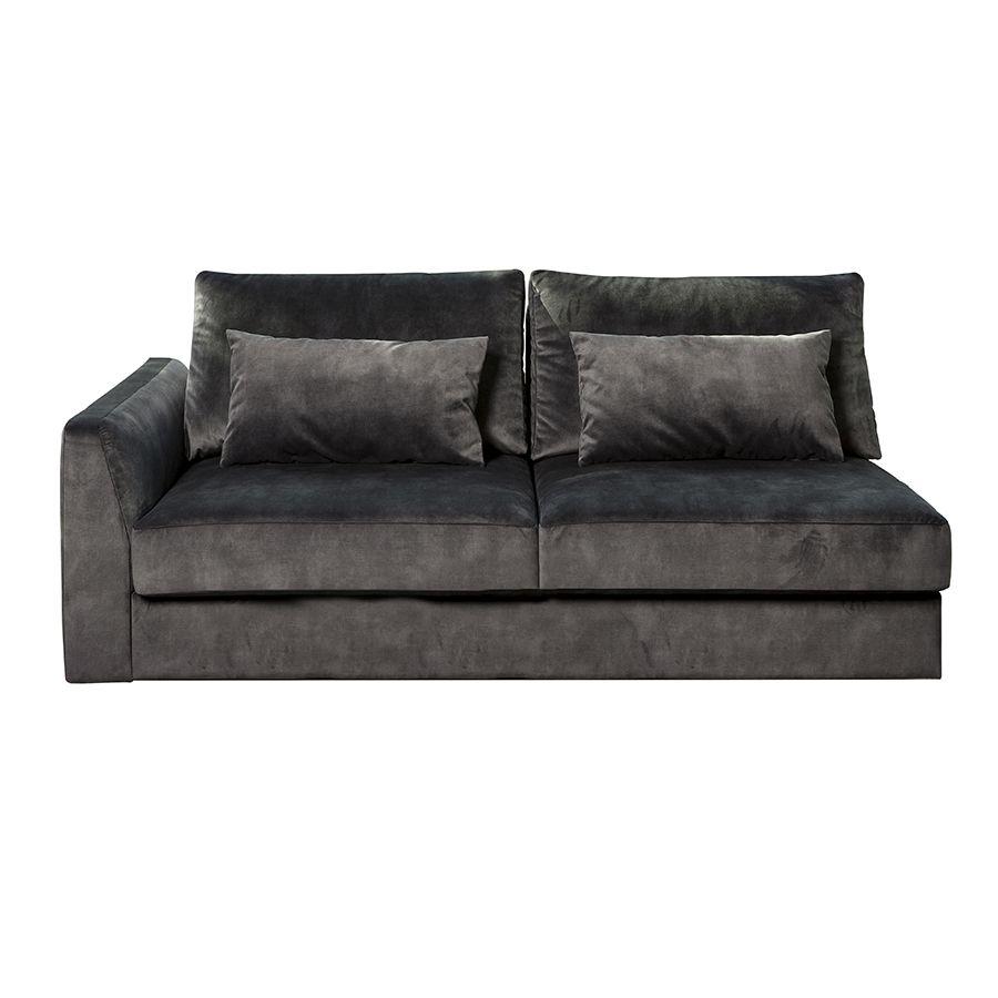 Canapé 2 places en tissu velours noir accoudoir gauche - Baltimore