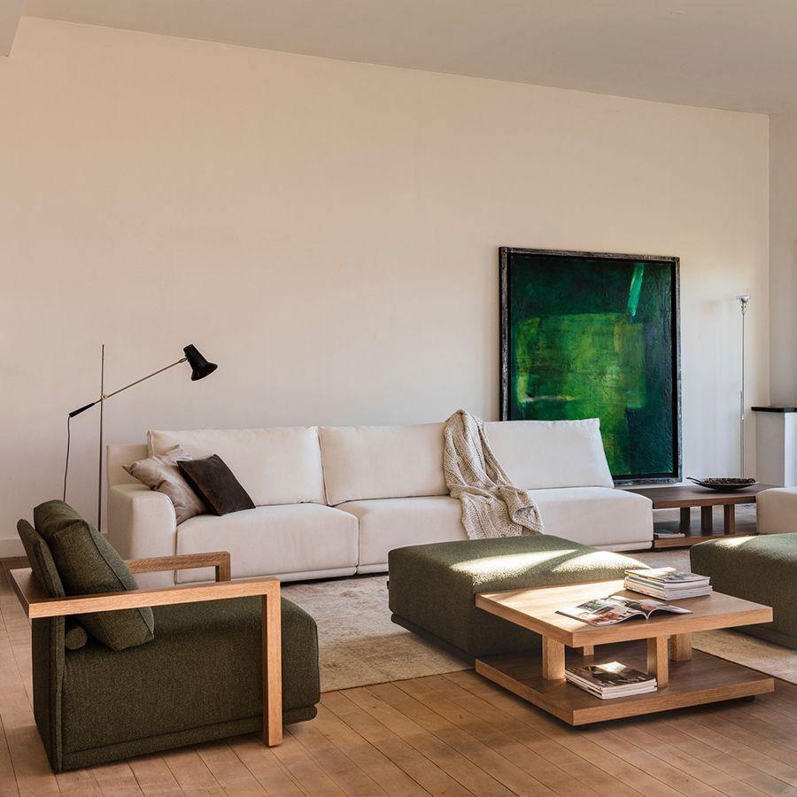 Module 1,5 places en tissu vert pour canapé d'angle en tissu  - Milano