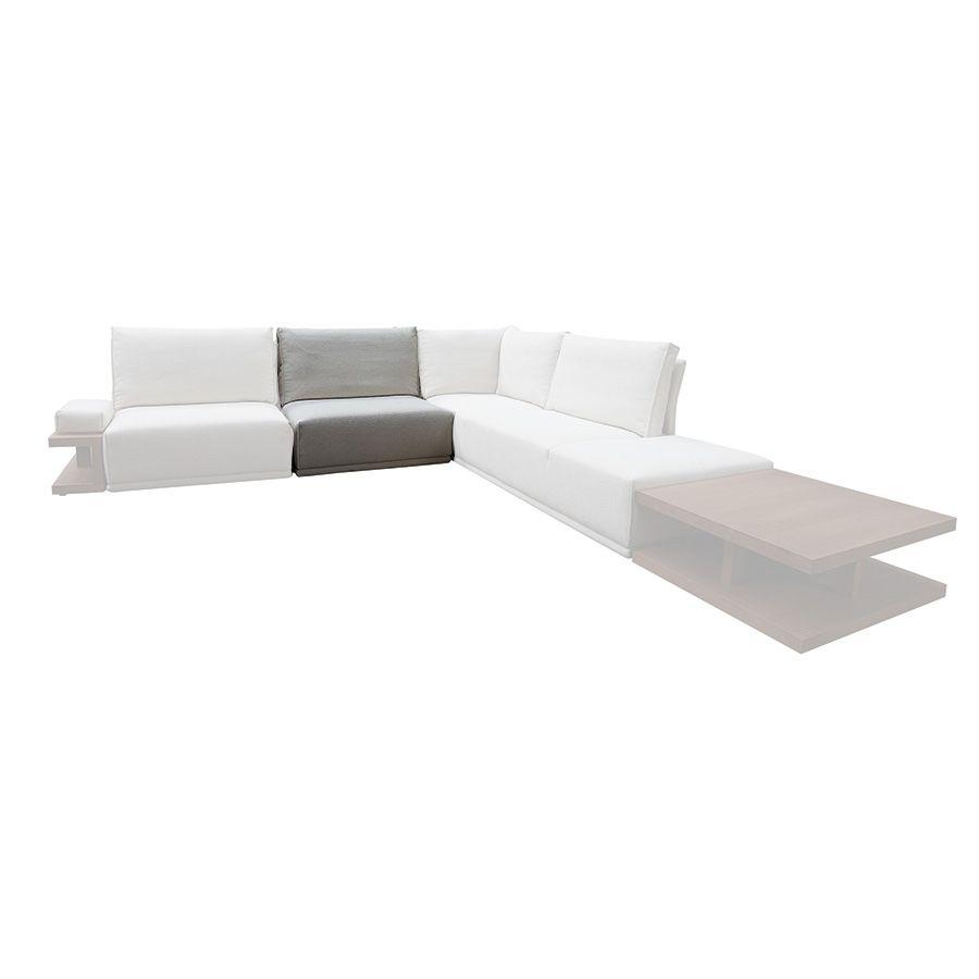 Module 1,5 places pour canapé d'angle en tissu beige - Milano