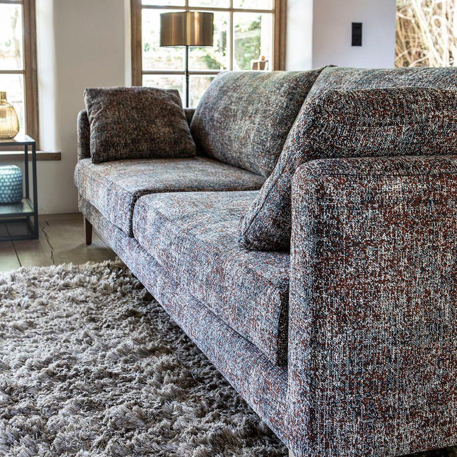 Canapé 4 places en tissu moucheté terracota et bleu - Livourne