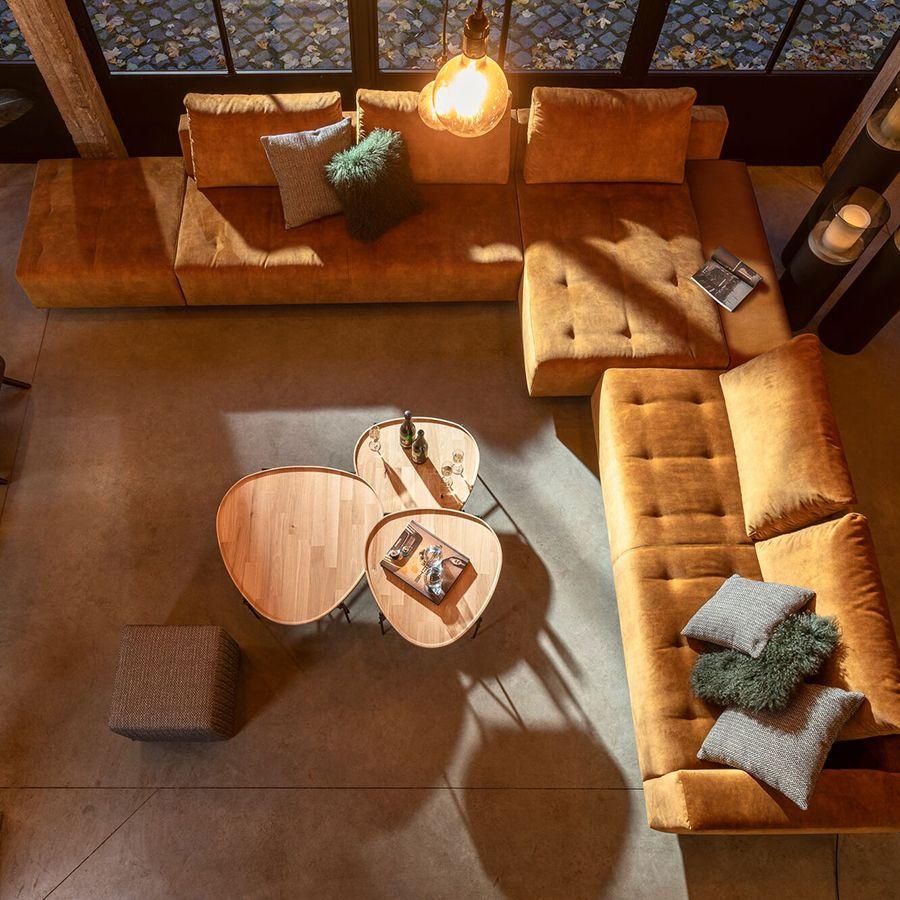 Canapé 3.5 places en tissu beige accoudoir droit - Bergamo