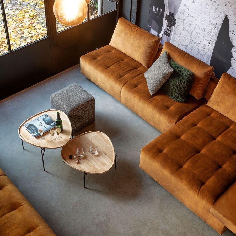 Canapé 4 places sans accoudoir en velours orange - Bergamo
