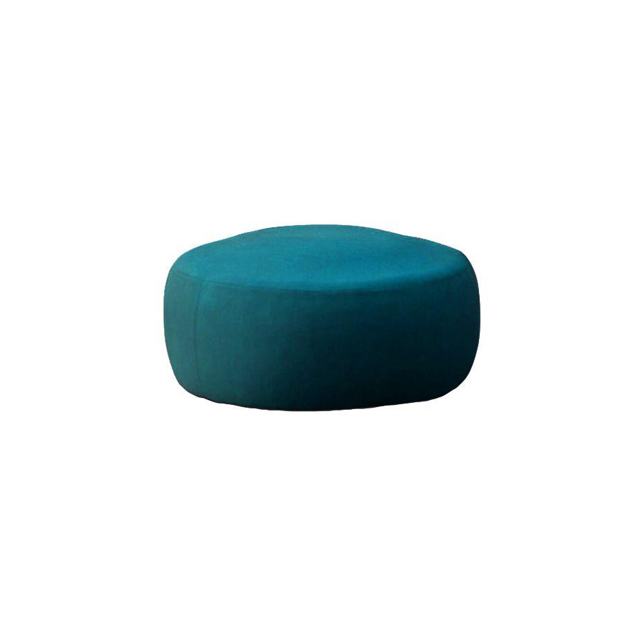 Pouf en velours bleu 90 cm - Paolo