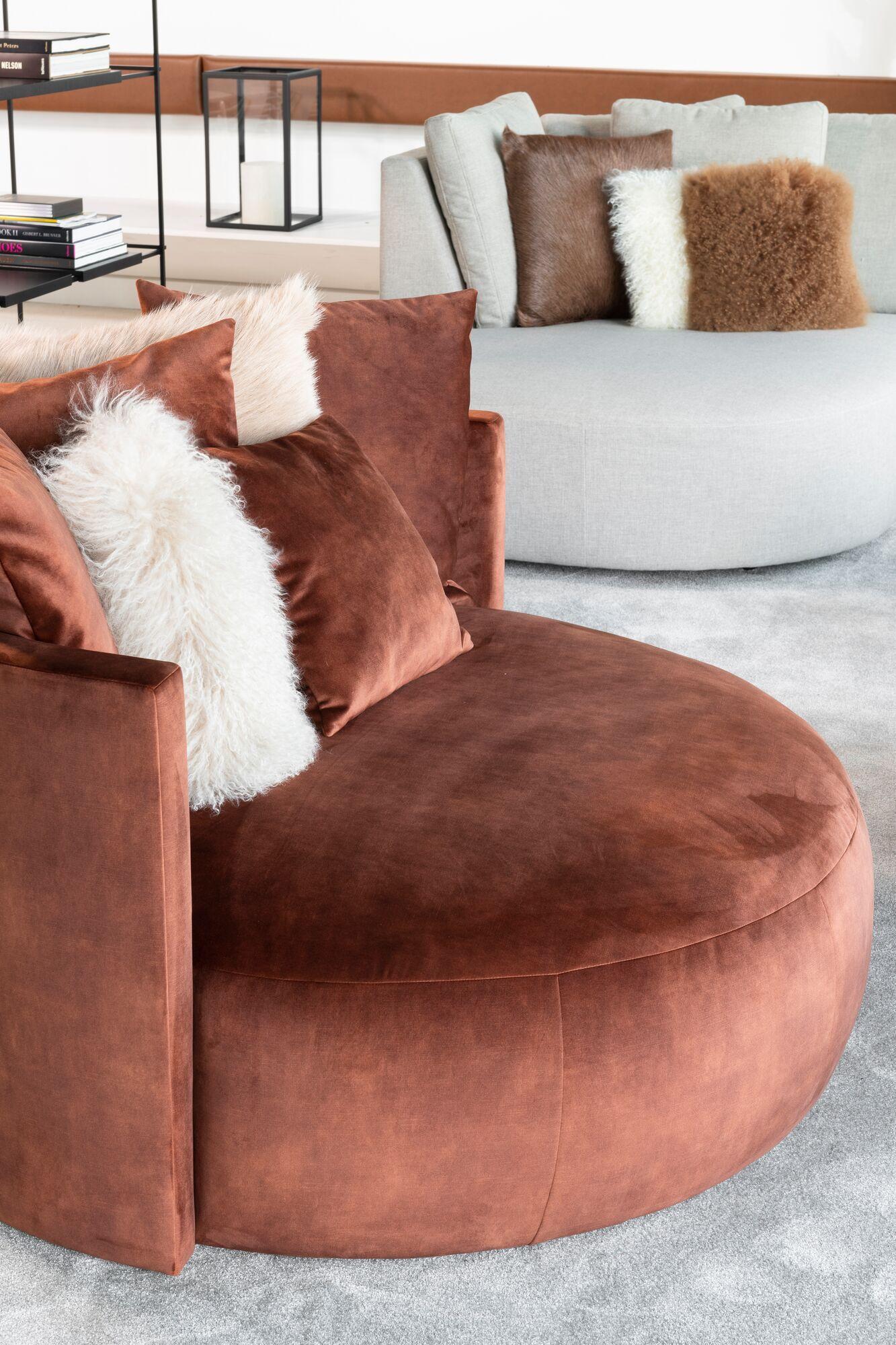 Fauteuil lounge en velours marron - Paolo