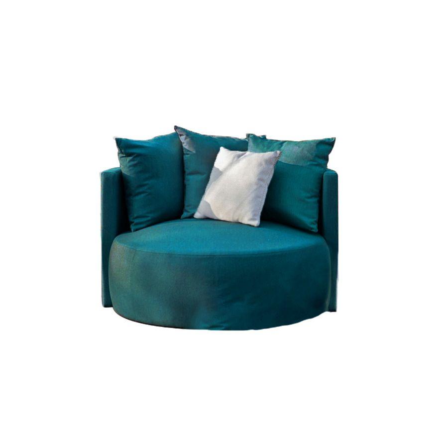 Fauteuil lounge en velours bleu - Paolo