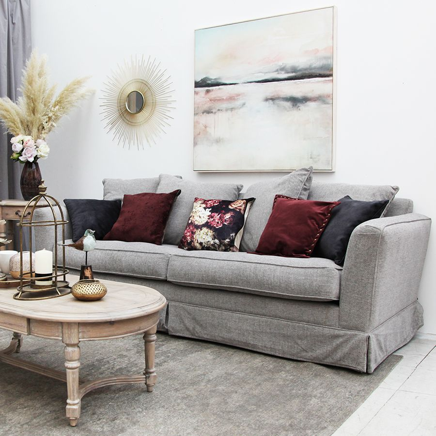 Canapé 3,5 places en tissu gris - Nelson