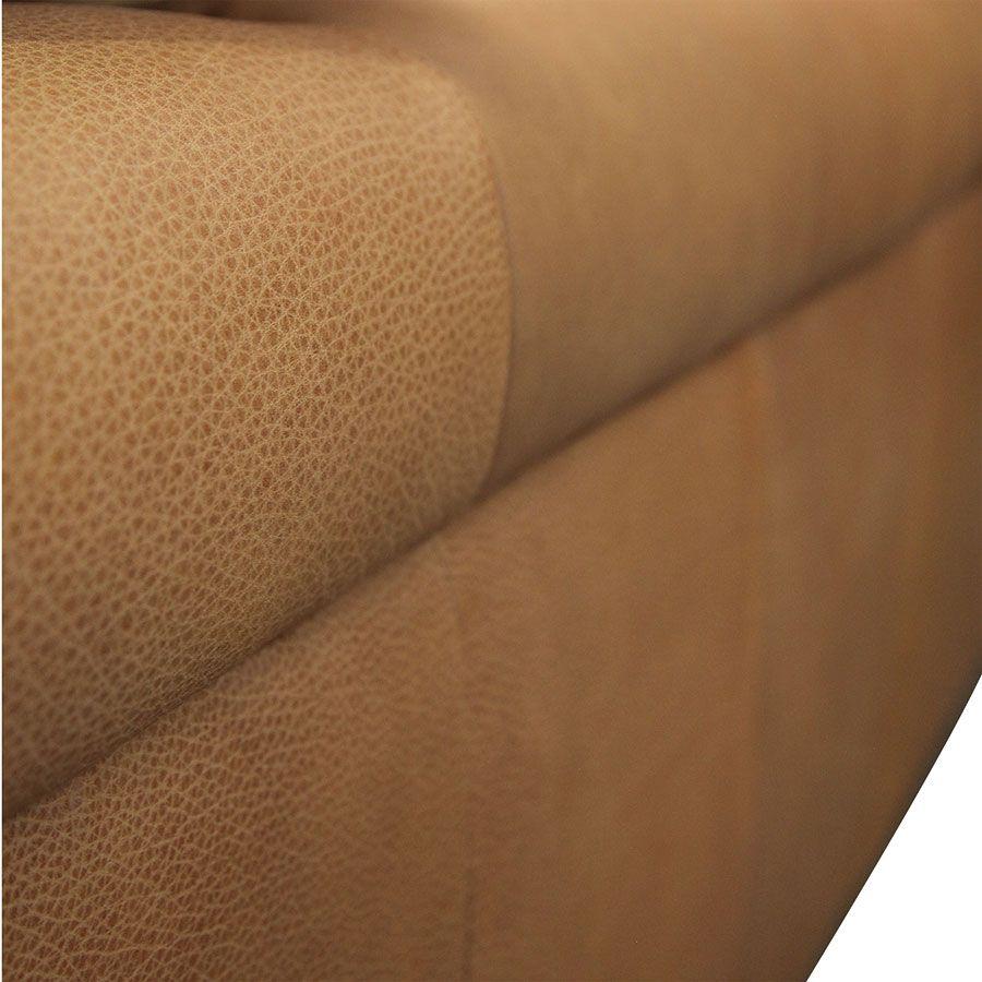 Canapé 3 places en cuir camel avec coussins - Brighton