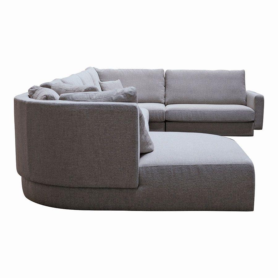 Canapé d'angle en tissu gris - Syracuse
