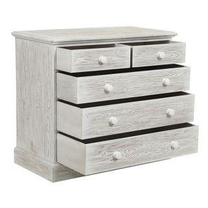 Commode 5 tiroirs en épicéa nuage de blanc - Natural - Visuel n°3