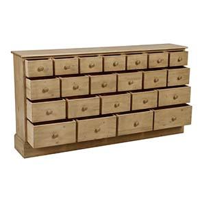 Commode de mercerie 22 tiroirs en épicéa naturel cendré - Natural - Visuel n°5