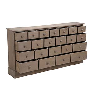 Commode de mercerie 22 tiroirs en épicéa brun fumé grisé - Natural - Visuel n°3