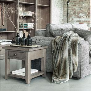 Bout de canapé contemporain en épicéa brun fumé grisé - First - Visuel n°2