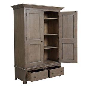 Armoire 2 portes 2 tiroirs en épicéa brun fumé grisé - First - Visuel n°7