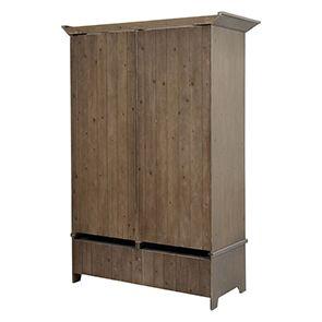 Armoire penderie 2 portes 2 tiroirs en épicéa brun fumé grisé - First - Visuel n°5