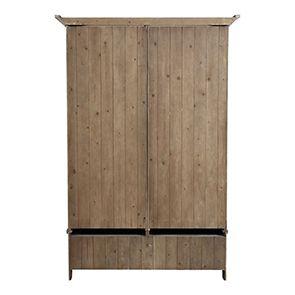 Armoire penderie 2 portes 2 tiroirs en épicéa brun fumé grisé - First - Visuel n°6