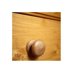 Armoire penderie 2 portes 3 tiroirs en épicéa naturel ciré - Natural - Visuel n°4