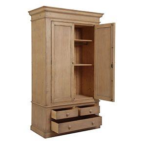 Armoire penderie 2 portes 3 tiroirs en épicéa naturel cendré - Natural - Visuel n°2
