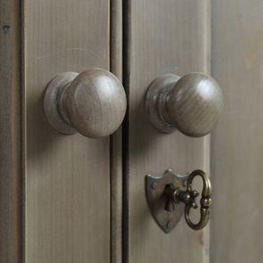 Armoire penderie 2 portes 3 tiroirs en épicéa naturel fumé -Natural - Visuel n°8