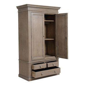 Armoire 2 portes 3 tiroirs en épicéa naturel fumé -Natural - Visuel n°17