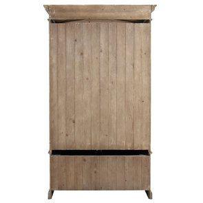 Armoire penderie 2 portes 3 tiroirs en épicéa naturel fumé -Natural - Visuel n°6