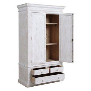 Armoire penderie 2 portes 3 tiroirs en épicéa nuage de blanc - Natural - Visuel n°3
