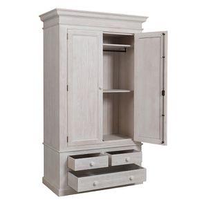 Armoire penderie 2 portes 3 tiroirs en épicéa nuage de blanc - Natural - Visuel n°4