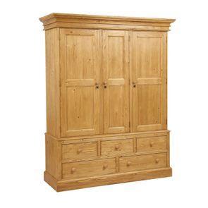 Armoire penderie 3 portes 5 tiroirs en épicéa naturel ciré - Natural - Visuel n°3