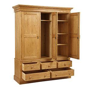 Armoire 3 portes 5 tiroirs en épicéa naturel ciré - Natural - Visuel n°5