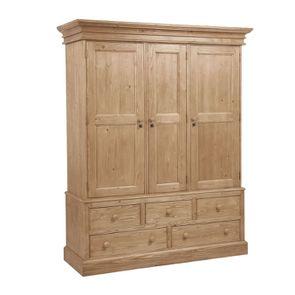 Armoire penderie 3 portes 5 tiroirs en épicéa naturel cendré - Natural - Visuel n°3